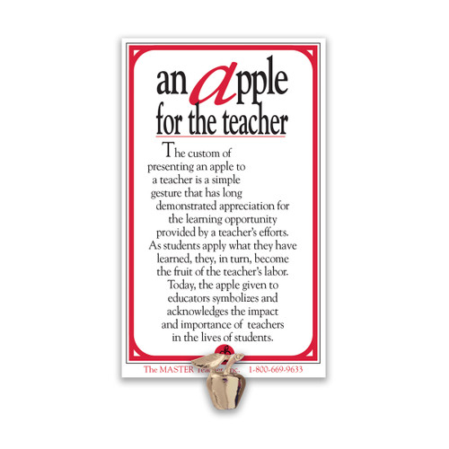 golden apple lapen pin with apple for the teacher message card