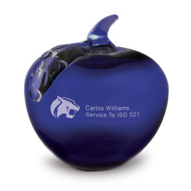 blue handblown glass apple with personalization
