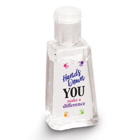 "1 oz. Antibacterial Hand Sanitizer Gel Featuring The Motivational Message ""Hands Down You Make A Difference"""