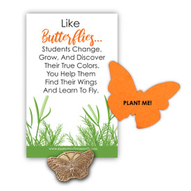 "This Gold Butterfly Lapel Pin And Seed Paper Shape That Grows Wildflowers Features The Inspirational Message ""Like Butterflies Students Change…"""
