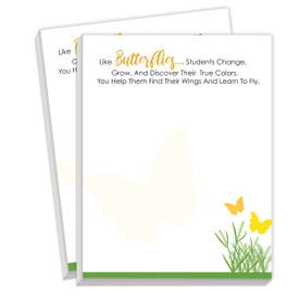 Notepads For Teachers Featuring The Saying Helping Students Find Their Wings. 2 Pads. 75 Sheets Per Pad.