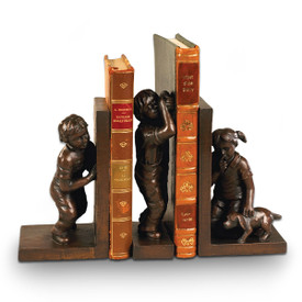 antique-bronze finished three piece bookend set of children and dog playing hide-n-seek