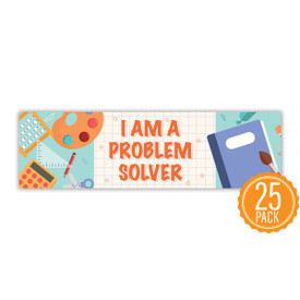"""Colorful 2"""" x 8"""" Student Bookmark That Reads """"I Am A Problem Solver"""" On The Front"""