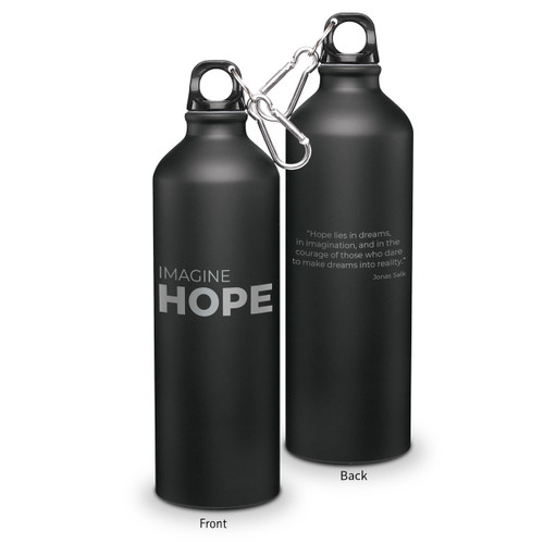 24oz. carabiner canteen featuring the inspirational message Imagine Hope. 5 colors to choose from.