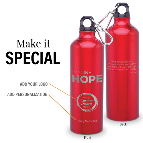 imagine hope 24 oz carabiner canteen with add your logo and personalization