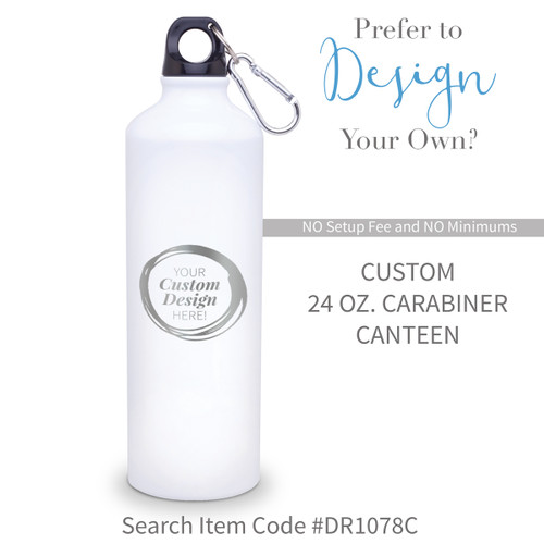 create your own white 24 oz carabiner canteen