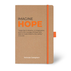Eco-Friendly Hardbound Journal Featuring the Inspirational Message Imagine Hope. 5 colors to choose from.
