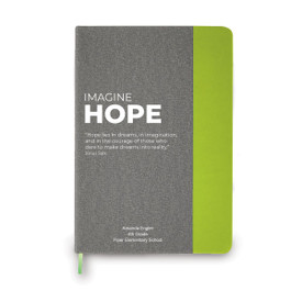 This heather gray hardbound journal features the message Imagine Hope making it the perfect gift for teachers.