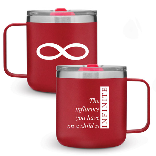 red 12 oz. stainless steel mug with infinity message