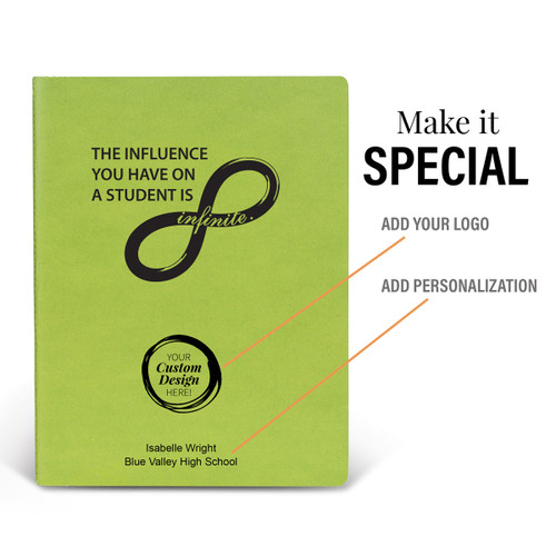 a green infinity appeel grande journal with add your logo and personalization