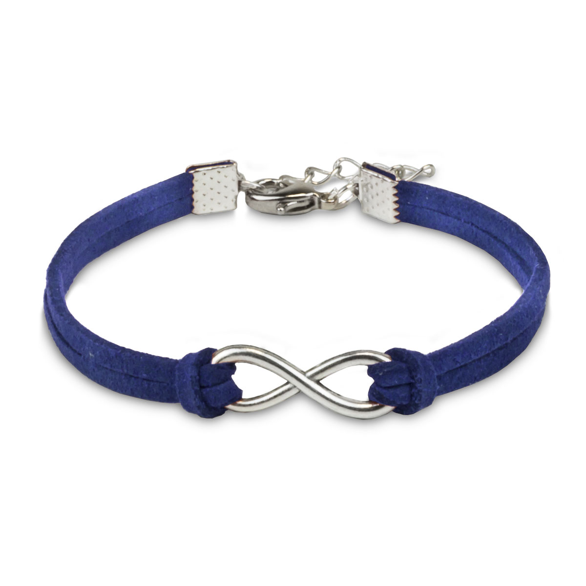 silver infinity charm with blue artificial leather bracelet