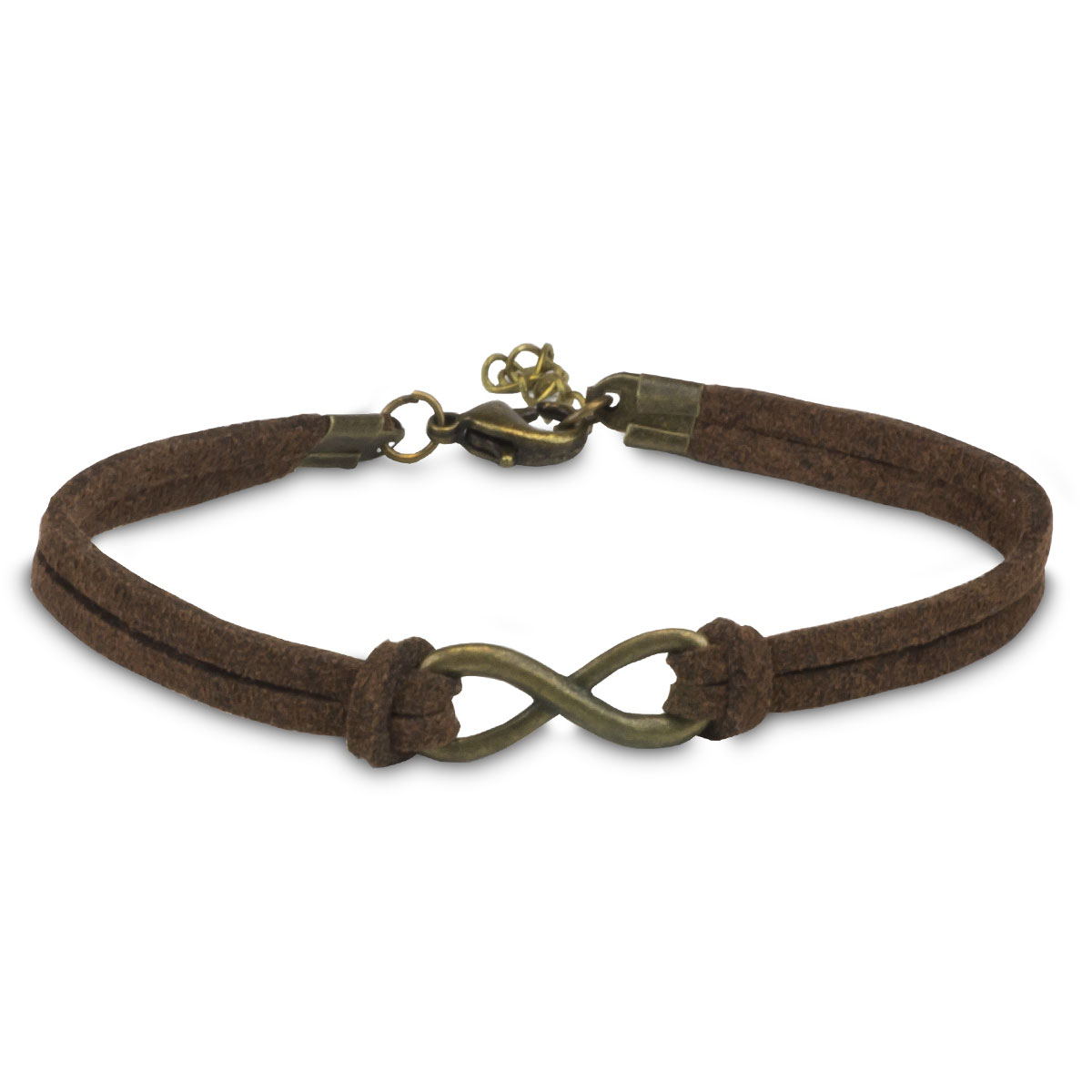 bronze infinity charm with brown artificial leather bracelet