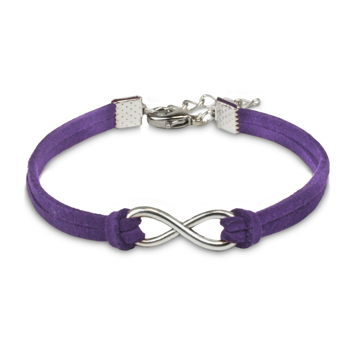 silver infinity charm with purple artificial leather bracelet