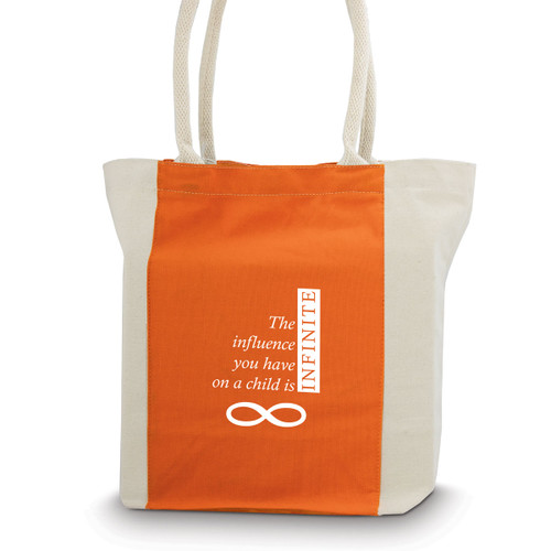 canvas tote bag with orange accent strip and rope handles with infinity message