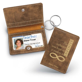 rustic leather id holder with infinity message