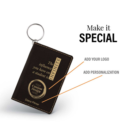 black leather id holder with infinity message and add you logo
