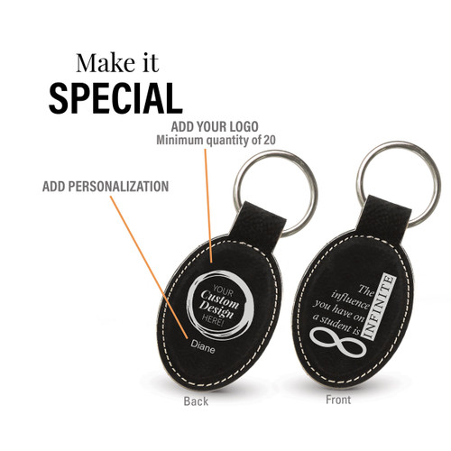 black oval leather keychain with infinity message and add you logo