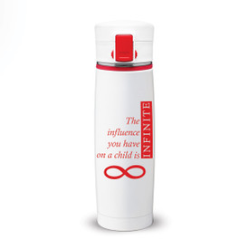 white stainless steel bottle with locking lid and infinity message