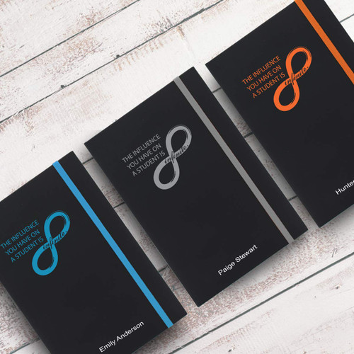 infinity black journals with multiple accent colors and personalization