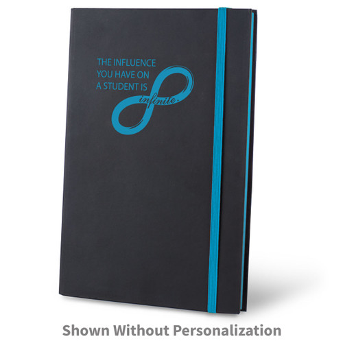 infinity black journal with blue accents