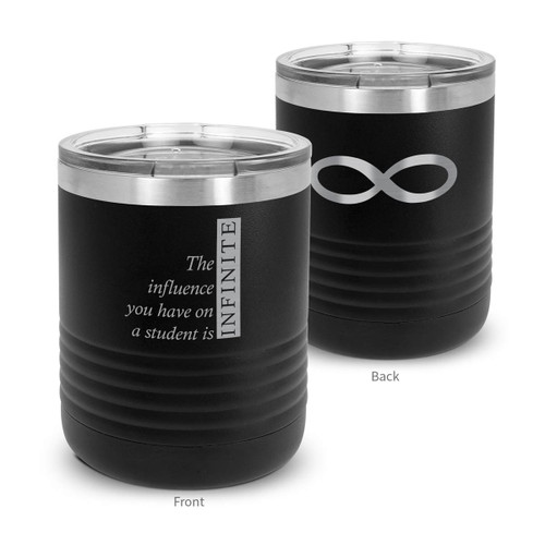 black stainless steel tumbler with infinity message