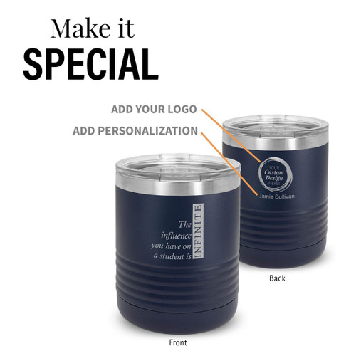 navy stainless steel tumbler with infinity message and add your logo