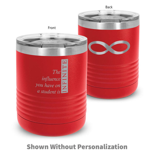 red stainless steel tumbler with infinity message