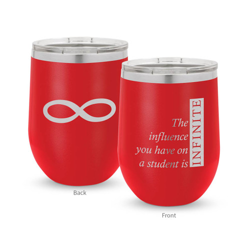 red 12 oz. stainless steel tumbler with infinity message