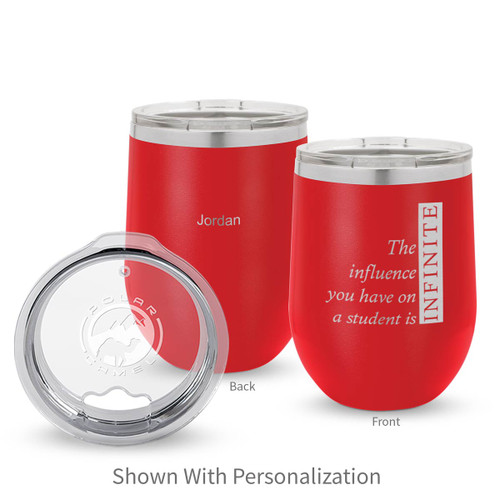 red 12 oz. stainless steel tumbler with infinity message and personalization