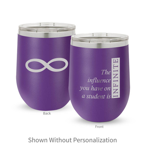 purple 12 oz. stainless steel tumbler with infinity message