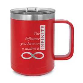 red stainless steel mug with infinity message