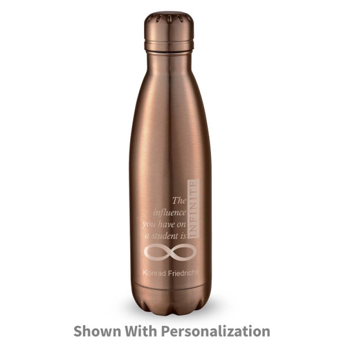 copper stainless steel water bottle with infinity message and personalization