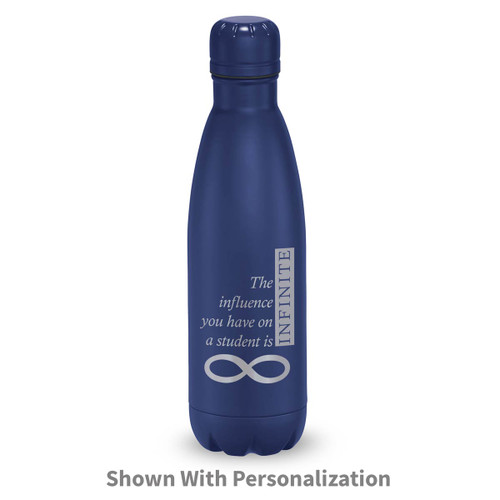 navy stainless steel water bottle with infinity message
