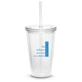 twist-top tumbler with straw and infinity message