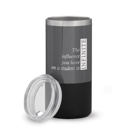 two tone charcoal stainless steel tumbler with infinity message