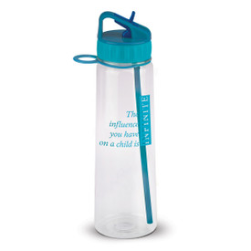 water bottle with infinity message and teal lid with fold down spout