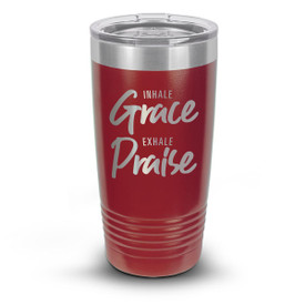 red stainless steel tumbler with inhale grace exhale praise message