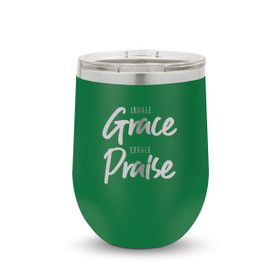 green 12 oz. stainless steel tumblers with inhale grace exhale praise message