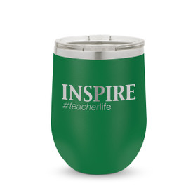 green 12 oz. stainless steel tumblers with inspire #teacherlife message