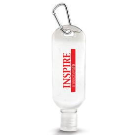 "1 oz. Antibacterial Hand Sanitizer Gel with Carabiner Featuring The Inspirational Message ""inspire #teacherlife"""