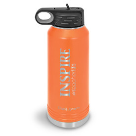 32oz. stainless steel water bottle featuring the inspirational message Inspire #teacherlife. 9 colors to choose from.