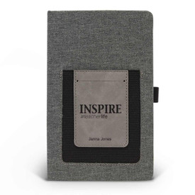 Canvas journal with phone pocket and card holder featuring the inspirational message Inspire #teacherlife. 3 colors to choose from.