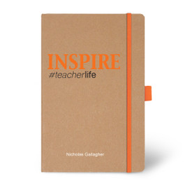 Eco-Friendly Hardbound Journal Featuring the Inspirational Message Inspire #teacherlife. 5 colors to choose from.
