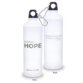 24oz. carabiner canteen featuring the inspirational Inspire Hope message. 5 colors to choose from.