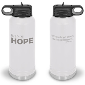 32oz. stainless steel water bottle featuring the inspirational message Inspire Hope. 9 colors to choose from.