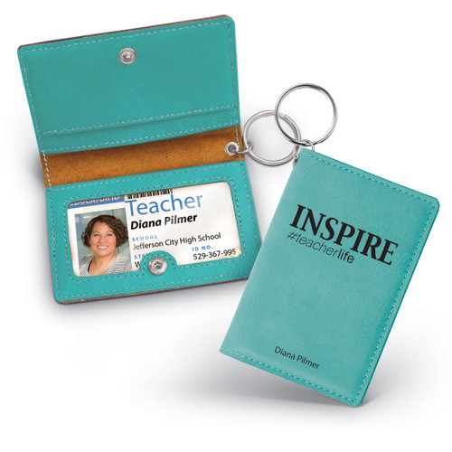 teal leather id holder with inspire message
