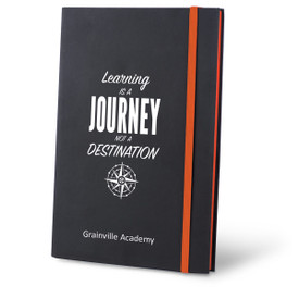 learning is a journey black journal with orange accents and personalization
