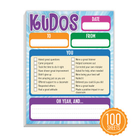 Kudos notepad featuring 100 sheets of paper