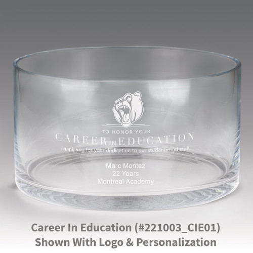large crystal recognition bowl with career in education message