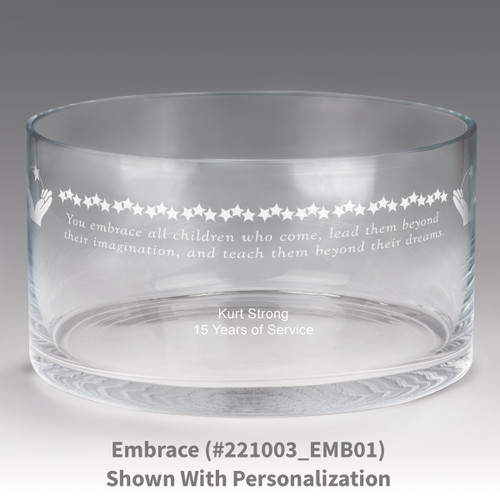 large crystal recognition bowl with embrace message